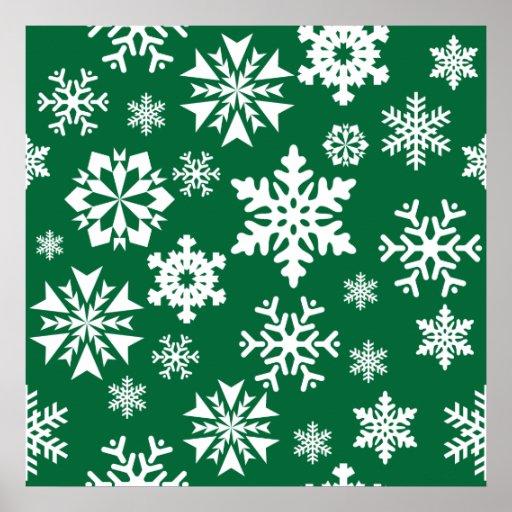 Festive Green Snowflakes Christmas Holiday Pattern Print