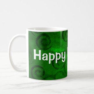 Festive Green Spirals Basic White Mug