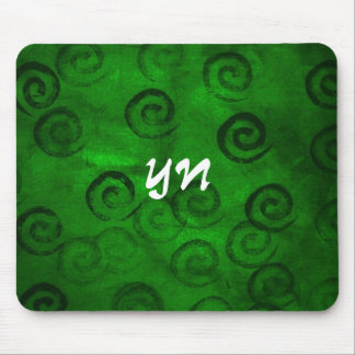Festive Green Spirals Mouse Pad