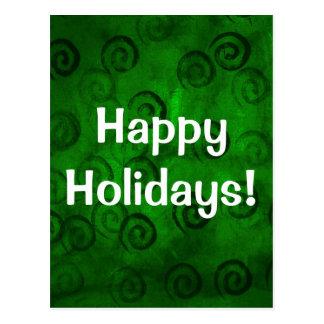 Festive Green Spirals Postcard