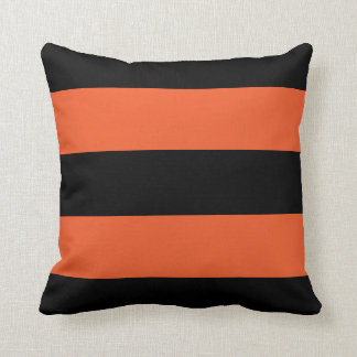 Festive Halloween Black and Orange Bold Stripe Cushion