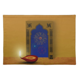 Festive Happy Diwali Fireworks - Cloth Placemat
