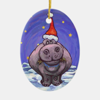 Festive Hippo Holiday Christmas Ornament