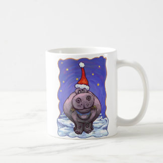 Festive Hippo Holiday Coffee Mug