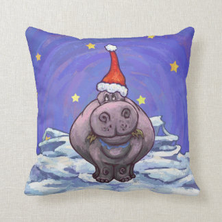 Festive Hippo Holiday Cushion