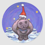 Festive Hippo Holiday Round Stickers