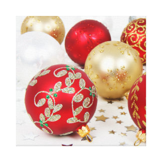 Festive Holiday Christmas Ornaments Background Canvas Prints