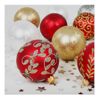 Festive Holiday Christmas Ornaments Background Poster