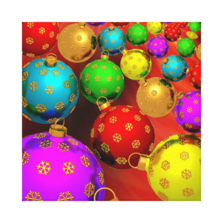 Festive Holiday Christmas Tree Ornaments Design Canvas Prints