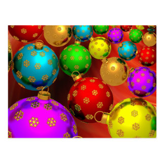 Festive Holiday Christmas Tree Ornaments Design Postcard