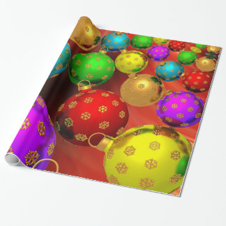 Festive Holiday Christmas Tree Ornaments Design Gift Wrap Paper