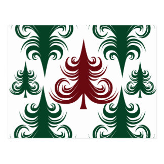 Festive Holiday Christmas Tree Pattern Green Red Postcard