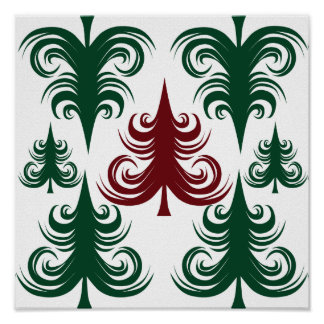 Festive Holiday Christmas Tree Pattern Green Red Poster