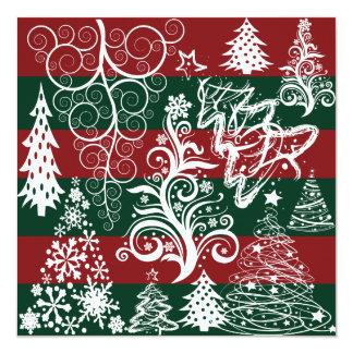 Festive Holiday Christmas Tree Red Green Striped 13 Cm X 13 Cm Square Invitation Card