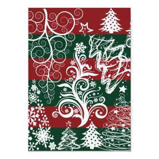 Festive Holiday Christmas Tree Red Green Striped 13 Cm X 18 Cm Invitation Card