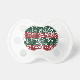 Festive Holiday Christmas Tree Red Green Striped Pacifiers