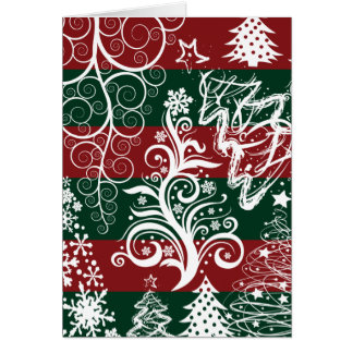 Festive Holiday Christmas Tree Red Green Striped Greeting Card