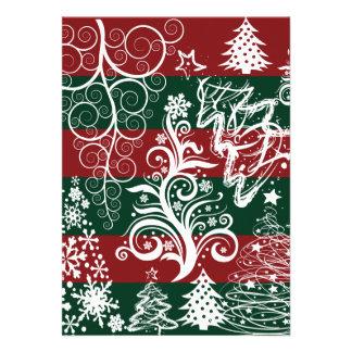 Festive Holiday Christmas Tree Red Green Striped Custom Invitation