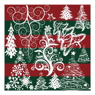 Festive Holiday Christmas Tree Red Green Striped Invitation