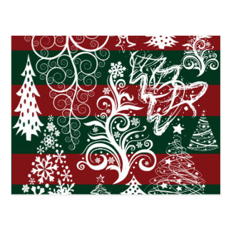 Festive Holiday Christmas Tree Red Green Striped Postcard