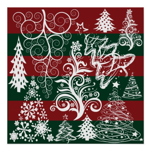 Festive Holiday Christmas Tree Red Green Striped Posters