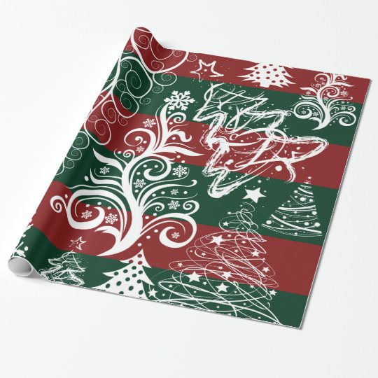 Festive Holiday Christmas Tree Red Green Striped Wrapping Paper