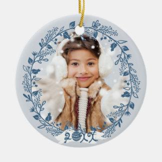 Festive Holiday Foliage Photo Round Ceramic Decoration