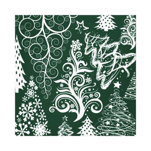 Festive Holiday Green Christmas Trees Xmas Canvas Prints