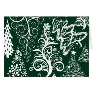 Festive Holiday Green Christmas Trees Xmas Note Card