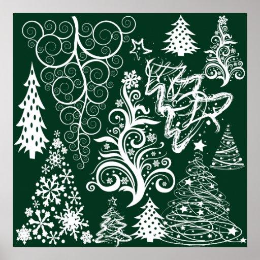 Festive Holiday Green Christmas Trees Xmas Poster