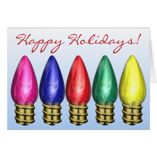 Festive Holiday Light Bulbs Christmas Greeting Card