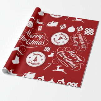 Festive Holiday Merry Christmas Red Wrapping Paper