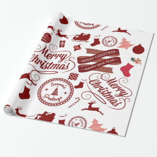 Festive Holiday Merry Christmas Wrapping Paper