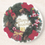 Festive Holiday Merry Christmas Wreath Coaster