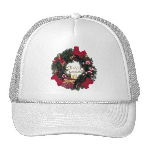 Festive Holiday Merry Christmas Wreath Trucker Hats