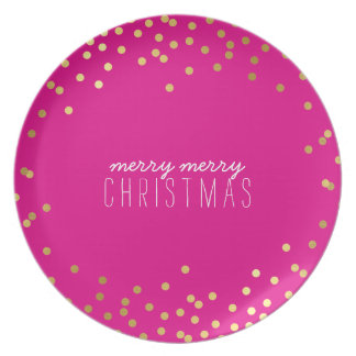 FESTIVE HOLIDAY modern confetti gold hot bold pink Plate