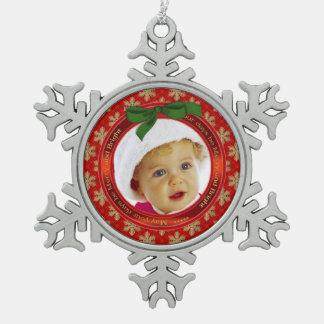 Festive Holiday Photo Snowflake Ornament