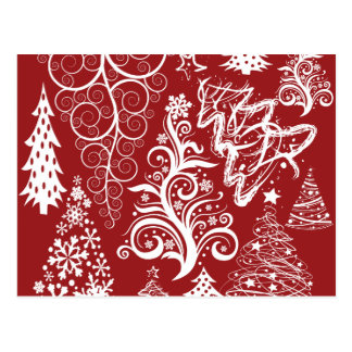 Festive Holiday Red Christmas Tree Xmas Pattern Postcard