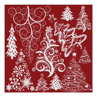 Festive Holiday Red Christmas Tree Xmas Pattern Poster