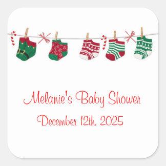 Festive Holiday Socks Square Sticker