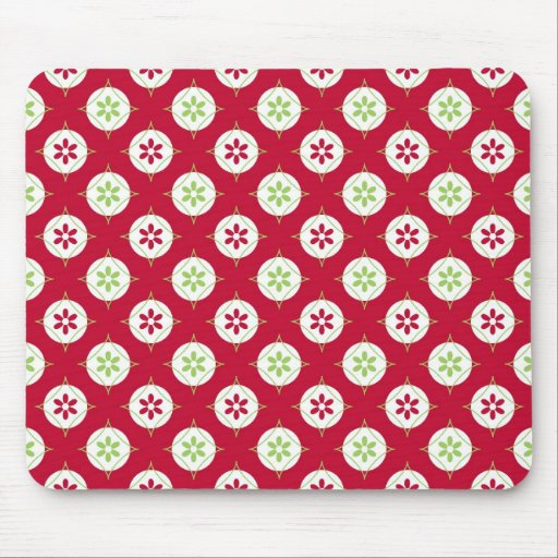 Festive Holiday Winter Pattern Red Green Mousepad