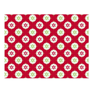 Festive Holiday Winter Pattern Red Green Postcard
