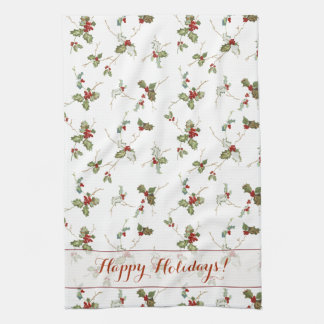 Festive Holly and Custom Greeting Hand Towels