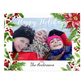 Festive Holly and Poinsettia Customizable Postcard