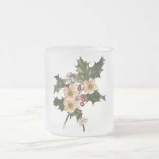 Festive holly frosted glass coffee mug