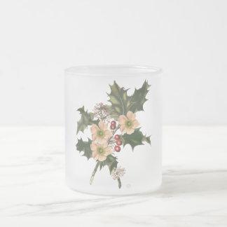 Festive holly frosted glass mug