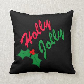 Festive Holly Jolly Christmas Holiday Pillow
