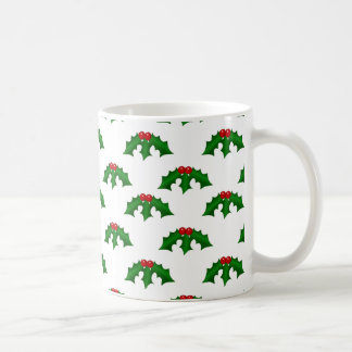 Festive Holly Leaves and Berries Pattern Basic White Mug