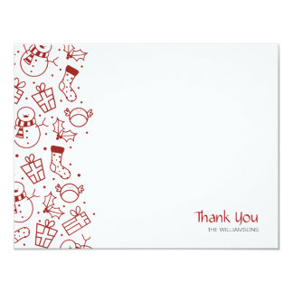Festive Icons Flat Thank You Note Card 11 Cm X 14 Cm Invitation Card