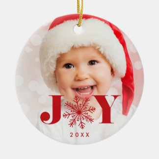 Festive Joy Holiday Photo Christmas Ornament